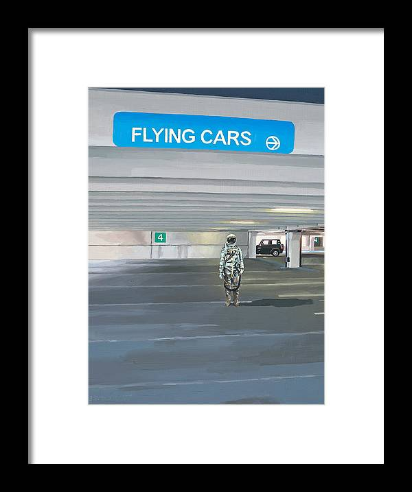 Astronaut Framed Print featuring the painting Flying Cars to the Right by Scott Listfield