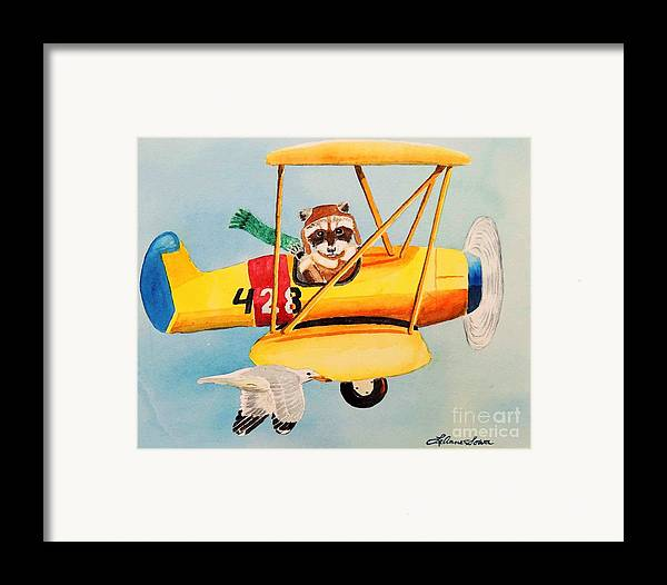 Biplane Framed Print featuring the painting Flying Friends by LeAnne Sowa