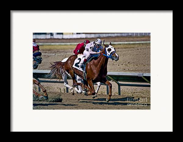 Racing Framed Print featuring the photograph Flying Hooves by Kathy McClure