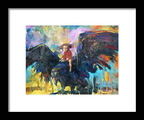 Flying In My Dreams Framed Print featuring the painting Flying In My Dreams by Michal Kwarciak