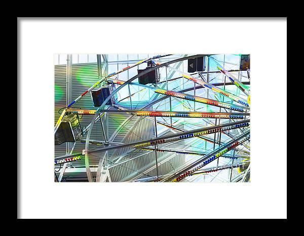 Flying Inside Ferris Wheel Framed Print featuring the photograph Flying Inside Ferris Wheel by Luther Fine Art