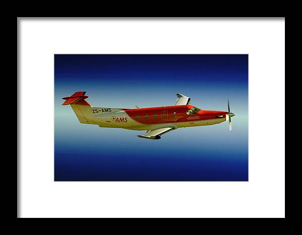 Pilatus Pc 12 Framed Print featuring the photograph Flying by Paul Job