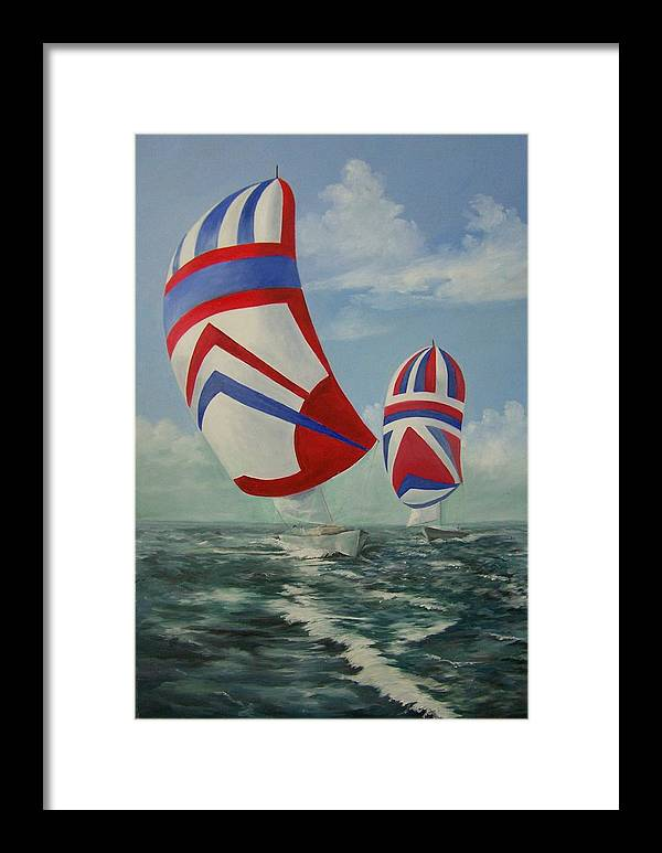 Sailing Ships Framed Print featuring the painting Flying The Colors by Wanda Dansereau