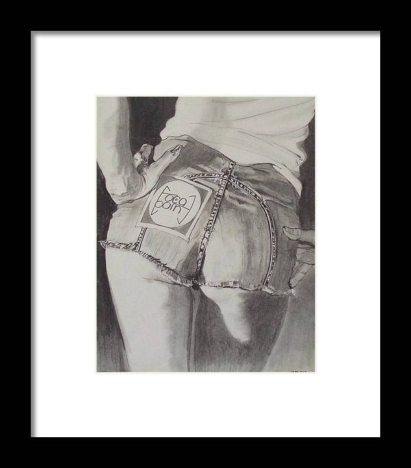 1970s;denim;dungarees;frayed;fringe;seams;cutoffs;hotpants;derierre;female;woman;t Shirt;pinup;fingers;shadow Framed Print featuring the drawing Focal Point . . Or . . The Will To Live by Sean Connolly