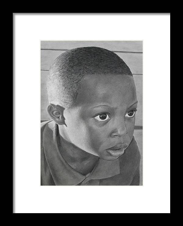 Youth Framed Print featuring the drawing Focus by Charles Anderson