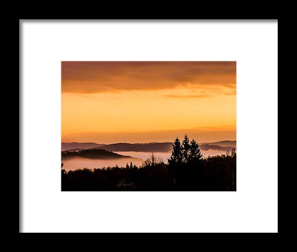 Sunrise Framed Print featuring the photograph Fog Below by Sherman Perry
