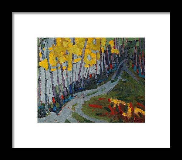Birch Framed Print featuring the painting Fog Birches On The Edge by Phil Chadwick
