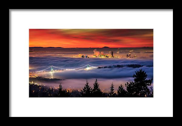 Skylines Framed Print featuring the photograph Fog Inversion Over Vancouver by Alexis Birkill