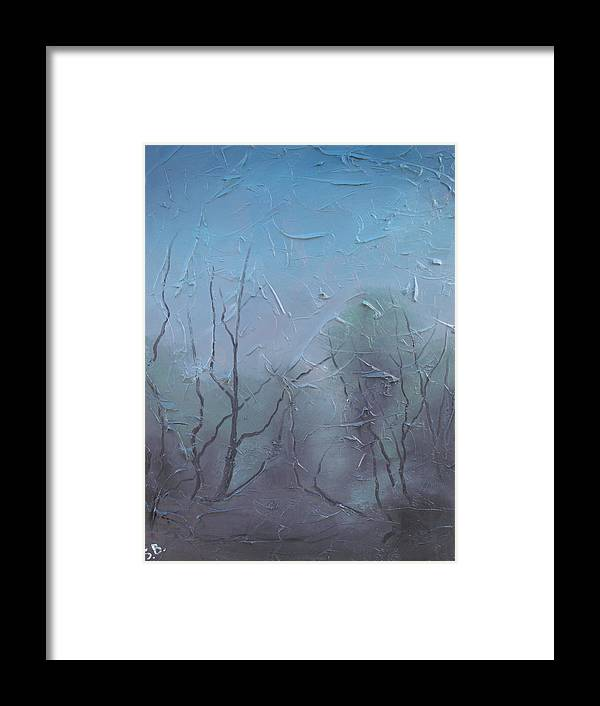 Landscape Framed Print featuring the painting Fog by Sergey Bezhinets