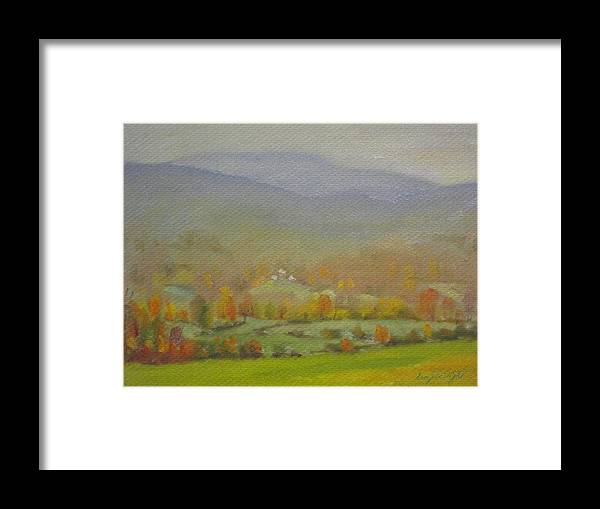 Faint Distant Mountains Framed Print featuring the painting Foggy Morning by Len Stomski
