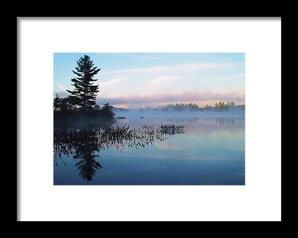 Foggy Morning's Chill -- On Parker Pond Framed Print featuring the photograph Foggy Morning's Chill -- On Parker Pond by Joy Nichols