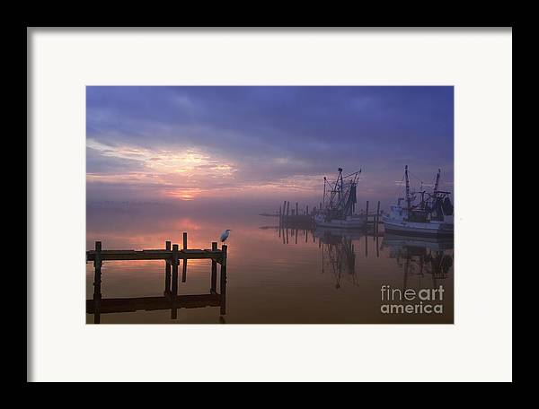 Swansboro North Carolina Framed Print featuring the photograph Foggy Sunset Over Swansboro by Benanne Stiens