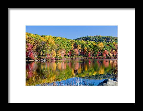Lake Framed Print featuring the photograph Foilage In The Fall by Anthony Sacco