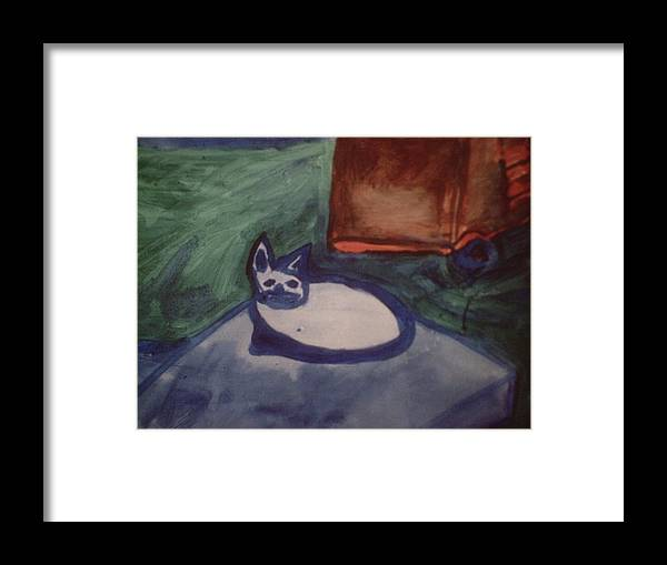 Art Framed Print featuring the painting Folk Art Cat by Shea Holliman