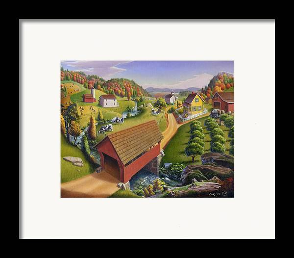 Covered Bridge Framed Print featuring the painting Folk Art Covered Bridge Appalachian Country Farm Summer Landscape - Appalachia - Rural Americana by Walt Curlee