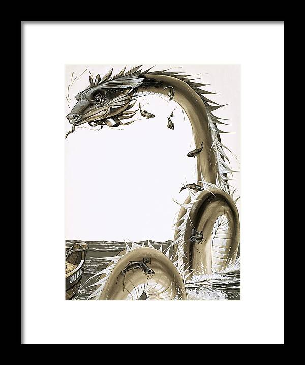 Folk Tale Framed Print featuring the drawing Folk Stories Of America Sea Serpent by Richard Hook
