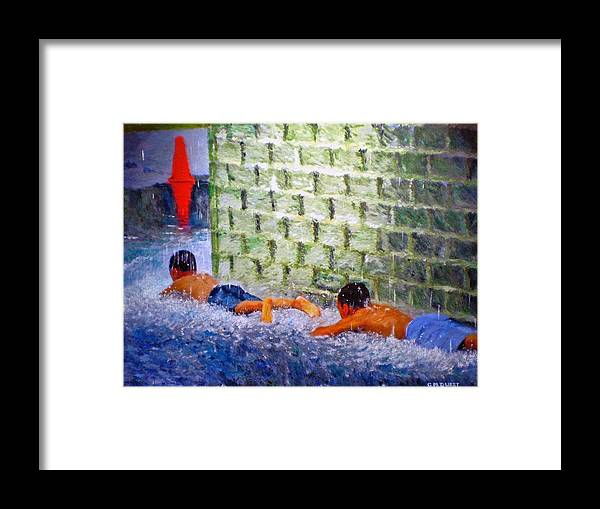 Boy Framed Print featuring the painting Follow The Leader by Michael Durst