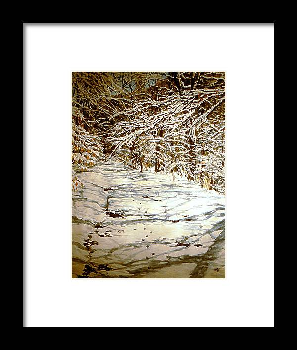 Snow Scene Framed Print featuring the painting Following Max by Thomas Akers