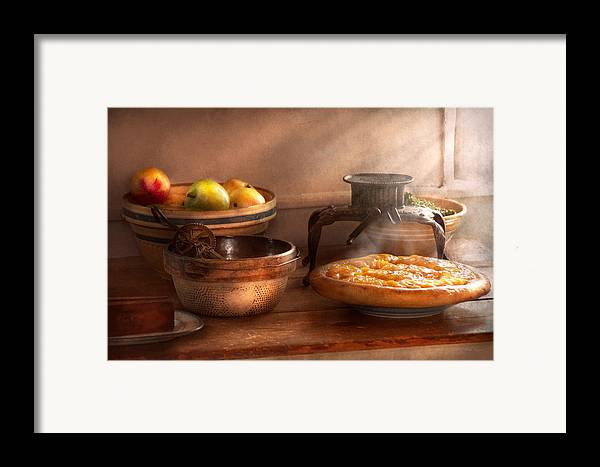 Peach Framed Print featuring the photograph Food - Pie - Mama's Peach Pie by Mike Savad