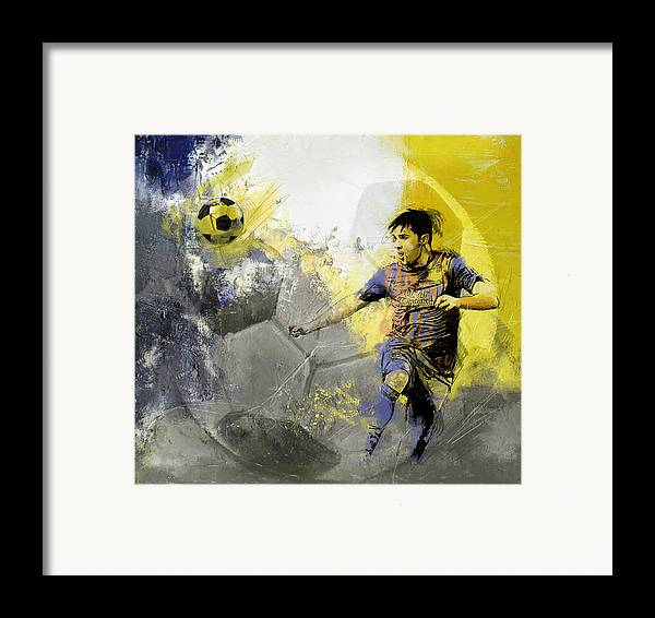Sports Framed Print featuring the painting Football Player by Catf