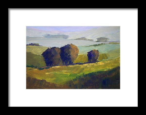 Foothills Framed Print featuring the painting Foothills Landscape by Nancy Merkle
