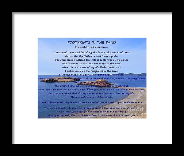 Footprints In The Sand 2 Framed Print featuring the photograph Footprints in the Sand 2 by Barbara Griffin