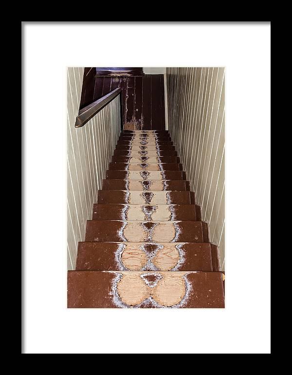 Footsteps On Wooden Stairs Framed Print featuring the photograph Footsteps On Wooden Stairs by Debra Martz
