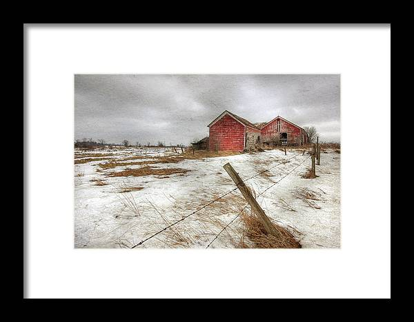 Old Red Barn Framed Print featuring the photograph For Sale by Lori Deiter