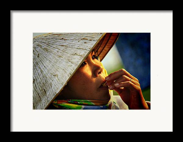 Girl Framed Print featuring the photograph For Survival by Suradej Chuephanich