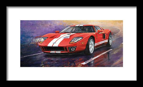 Automotive Framed Print featuring the painting Ford GT 2005 by Yuriy Shevchuk