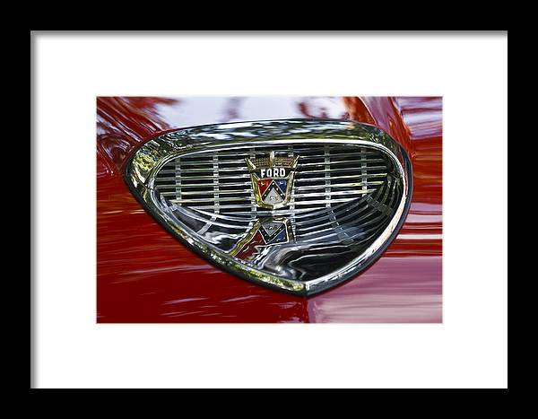 Ford Framed Print featuring the photograph Ford Hood Emblem by Wes and Dotty Weber