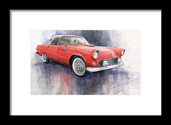 Watercolor Framed Print featuring the painting Ford Thunderbird 1955 Red by Yuriy Shevchuk