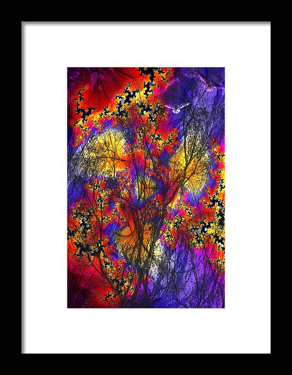 Forest Fire Framed Print featuring the digital art Forest Fire by Lisa Yount