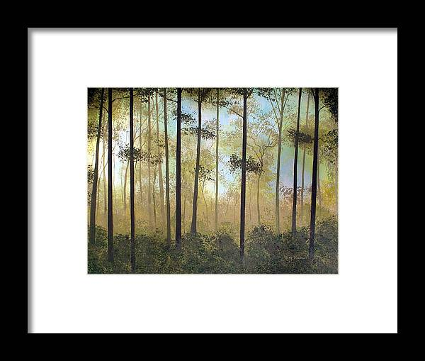 Modern Framed Print featuring the painting Forest Harmony by Herb Dickinson