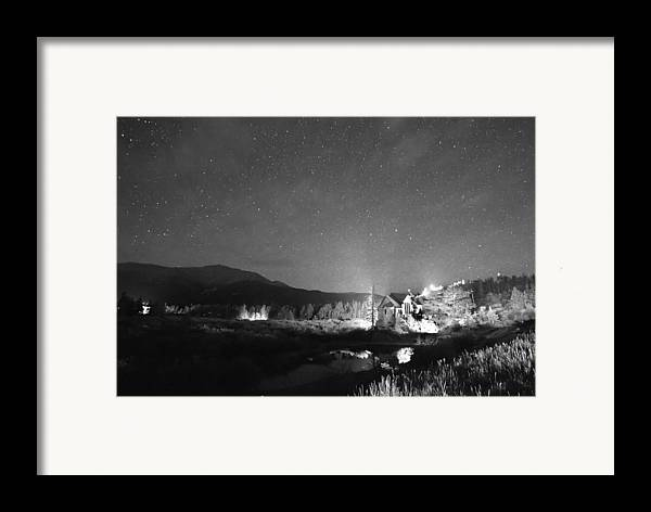 Chapel On The Rock Framed Print featuring the photograph Forest Of Stars Above The Chapel On The Rock Bw by James BO Insogna