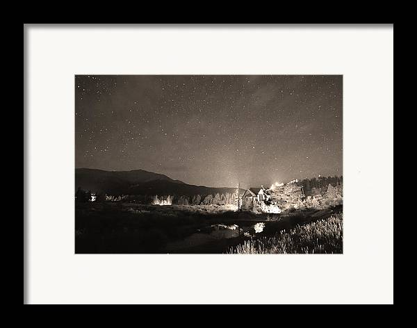 Chapel On The Rock Framed Print featuring the photograph Forest Of Stars Above The Chapel On The Rock Sepia by James BO Insogna