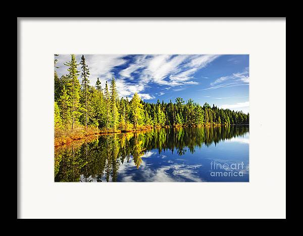 Lake Framed Print featuring the photograph Forest Reflecting In Lake by Elena Elisseeva