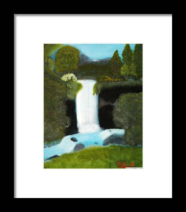 18x 24 Oil Framed Print featuring the painting Forest Waterfall by Dan MacDonald