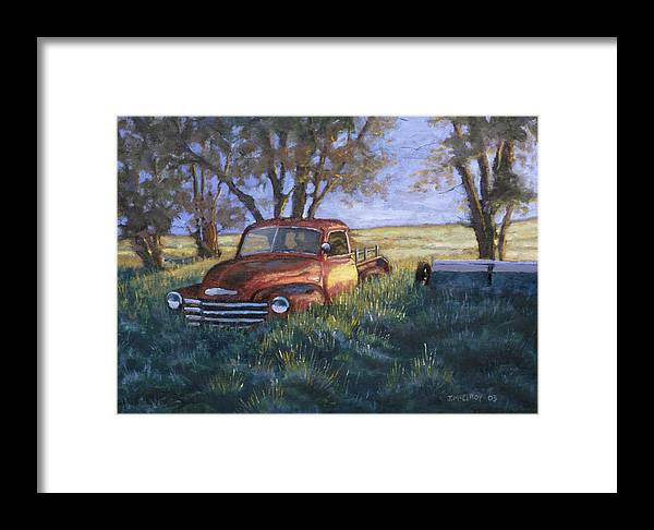 Pickup Truck Framed Print featuring the painting Forgotten But Still Good by Jerry McElroy