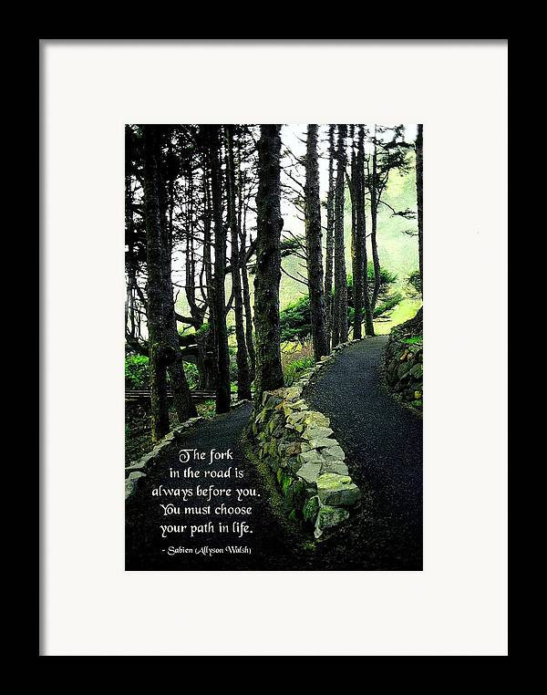 Quotation Framed Print featuring the photograph Fork In The Road by Mike Flynn