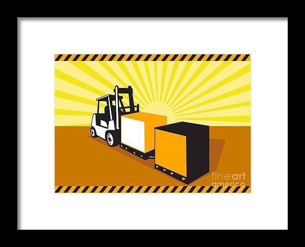 Forklift Truck Framed Print featuring the digital art Forklift Truck Materials Handling Retro by Aloysius Patrimonio