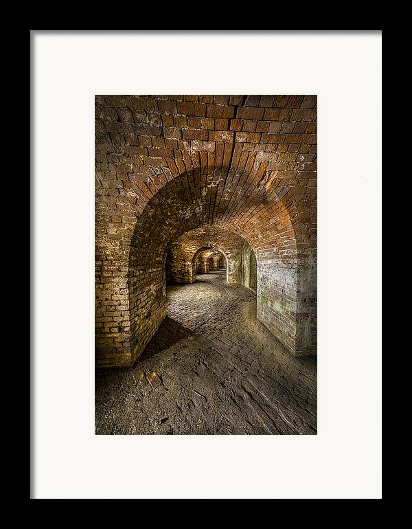 Fort Macomb Framed Print featuring the photograph Fort Macomb Arches Vertical by David Morefield