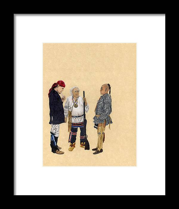 Colored Pencil Framed Print featuring the drawing Fort Toulouse Traders by Beth Parrish