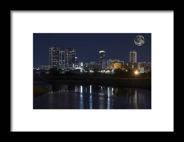 Fort Worth Skyline Framed Print featuring the photograph Fort Worth Skyline Super Moon by Jonathan Davison