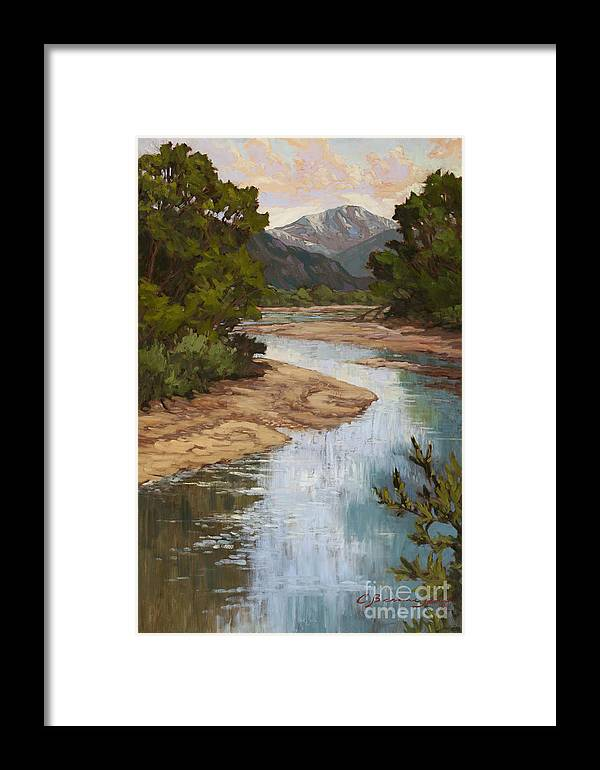 Pikes Peak Framed Print featuring the painting Fountain Creek by Chula Beauregard