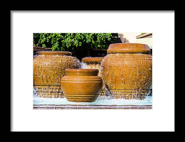 California Framed Print featuring the photograph fountain downtown PS by Gerry Fortuna