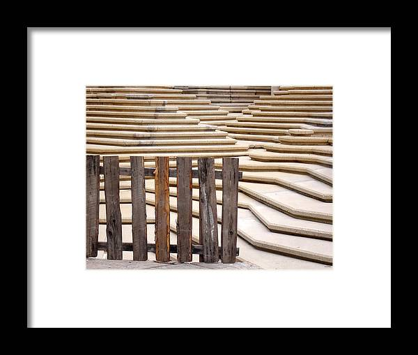 Fence Framed Print featuring the photograph Fountain Stepped Concrete And Fence by Ian Mcadie