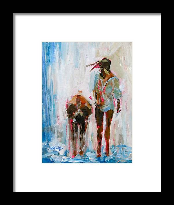 Girls Framed Print featuring the painting Fountain Friends by Molly Wright