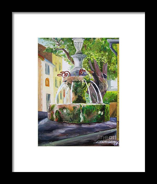 Fountain Framed Print featuring the painting Fountain In Provence by Christian Simonian