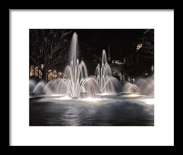 Fountains Framed Print featuring the photograph Fountains At Night by Rob Weisman